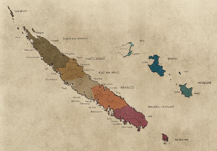 Carte de nouvelle Calédonie - Aires coutumières ©sébastien Lebegue